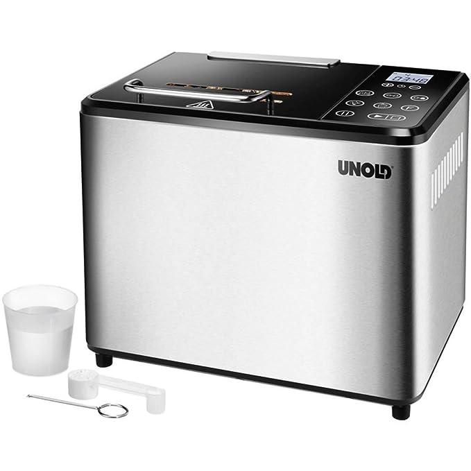 Unold BACKMEISTER Compact Plus 545W - Panificadora (Acero inoxidable, Plata, 1 kg, Pan sin gluten, 500 g, 13 h)