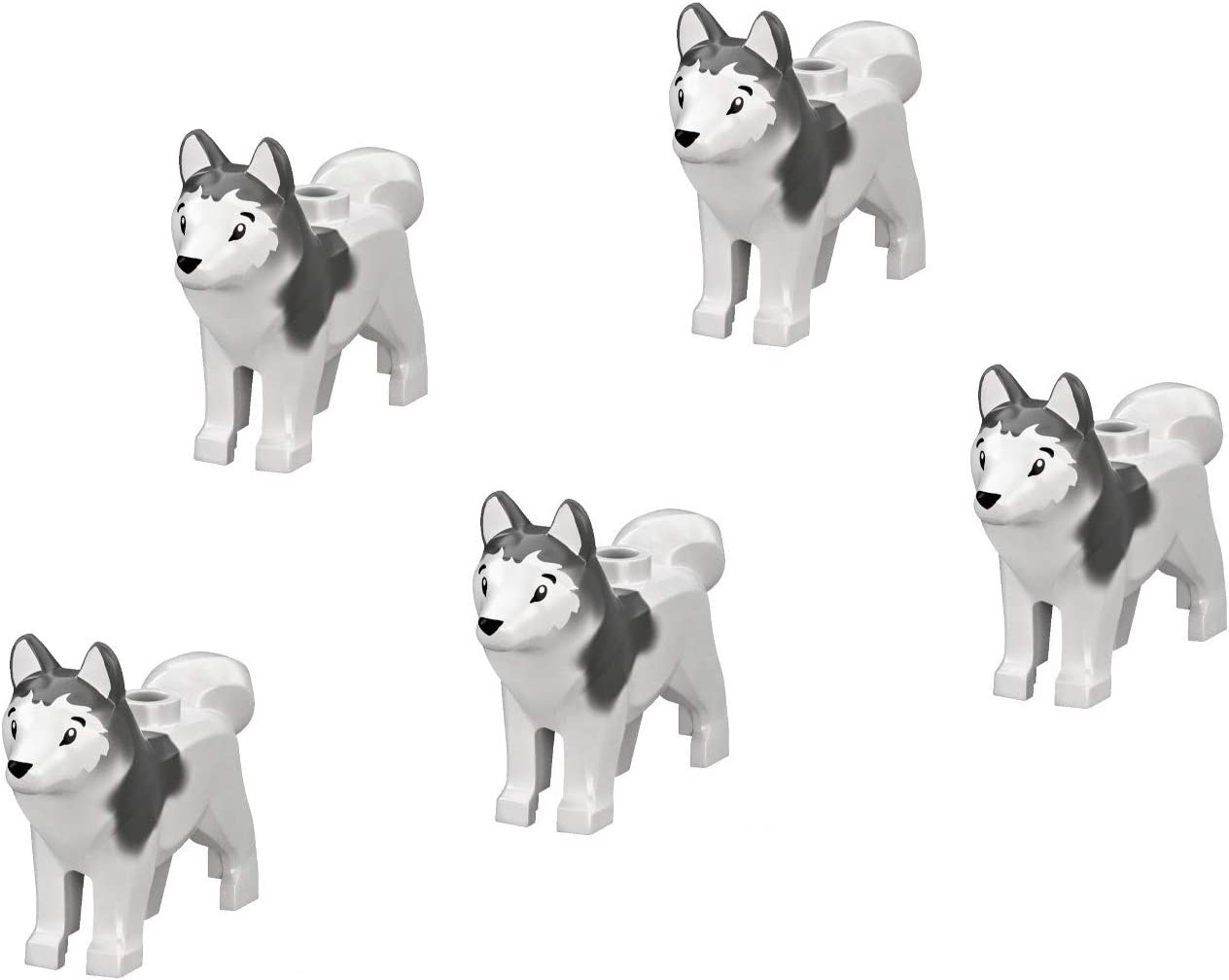 LEGO Minifigure - Arctic Siberian Husky Dog Animal (Pack of 5 for Sled Team) Pet Puppy Loose