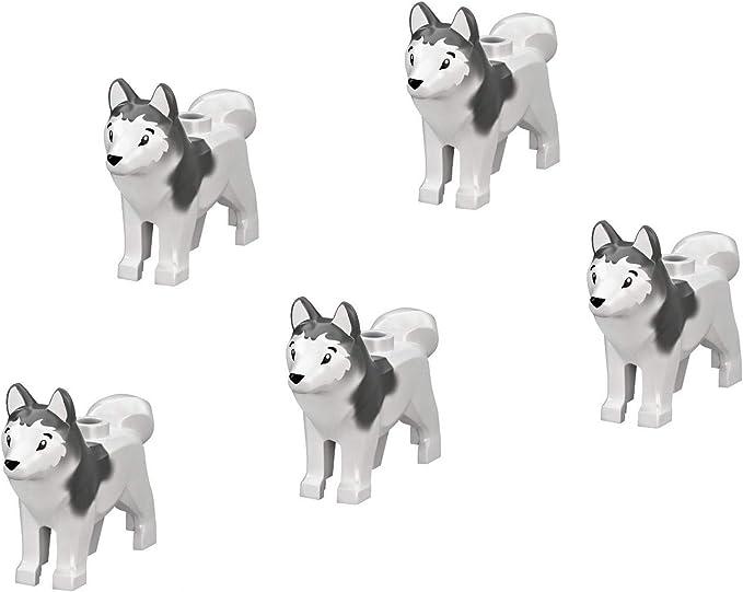 LEGO Minifigure - Arctic Siberian Husky Dog Animal (Pack of 5 for ...