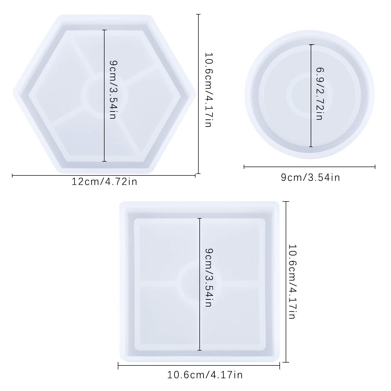 d/écoration de la maison y compris rond pour cendrier rectangulaire r/ésine /époxy bougie carr/é SelfTek Lot de 6 moules /à dessous-de-verre en silicone stylo savon bijoux