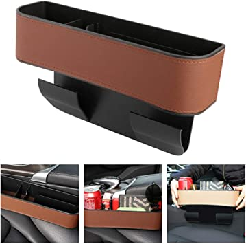 2 Pack PU Leather Car Seat Organizer with Cup Holder NDDI Car Seat Gap Filler Wallets Sunglasses Keys Seat Console Side Pocket for Cellphones Cards