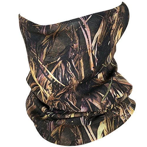 Fishing Mask Camo Headwear - Works as Fishing Sun Mask, Neck Gaiter, Headband, Bandana, Balaclava - Multifunctional Breathable Seamless Microfiber (Grass Blades)