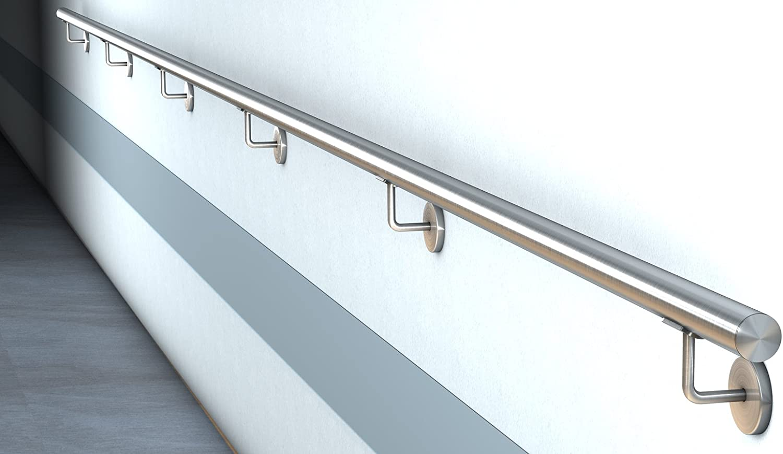 Edelstahl Handlauf V2A Fertighandlauf Gel/änder Treppe Griff /Ø42,4x2 mit Klipsrosette 1,4 m