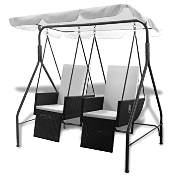 VidaXL Hollywoodschaukel 2 Sitzer Poly Rattan Gartenschaukel Doppelliege