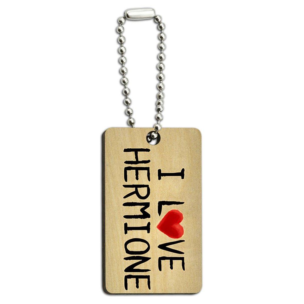 I Love Hermione Written on Paper Wood Wooden Rectangle Key Chain