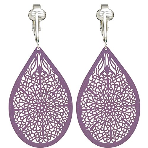 (Lovely Victorian Filigree Clip On Earrings for Women & Clip-ons, Lightweight Teardrop Leaf Dangle (Purple))