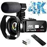 4K Video Camera Ultra HD Camcorder 48.0MP IR Night Vision Digital Camera WiFi Vlogging Camera with External Microphone and Le