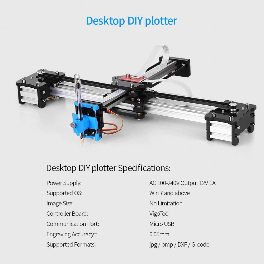 DONOTTAG. Metálica Dibujo del Robot Escritorio del Kit Multifuncional Kit de Bricolaje USB Pen Plotter de Dibujo Dibujo del Robot Máquina 100-240V Enchufe de Reino Unido: Amazon.es: Hogar