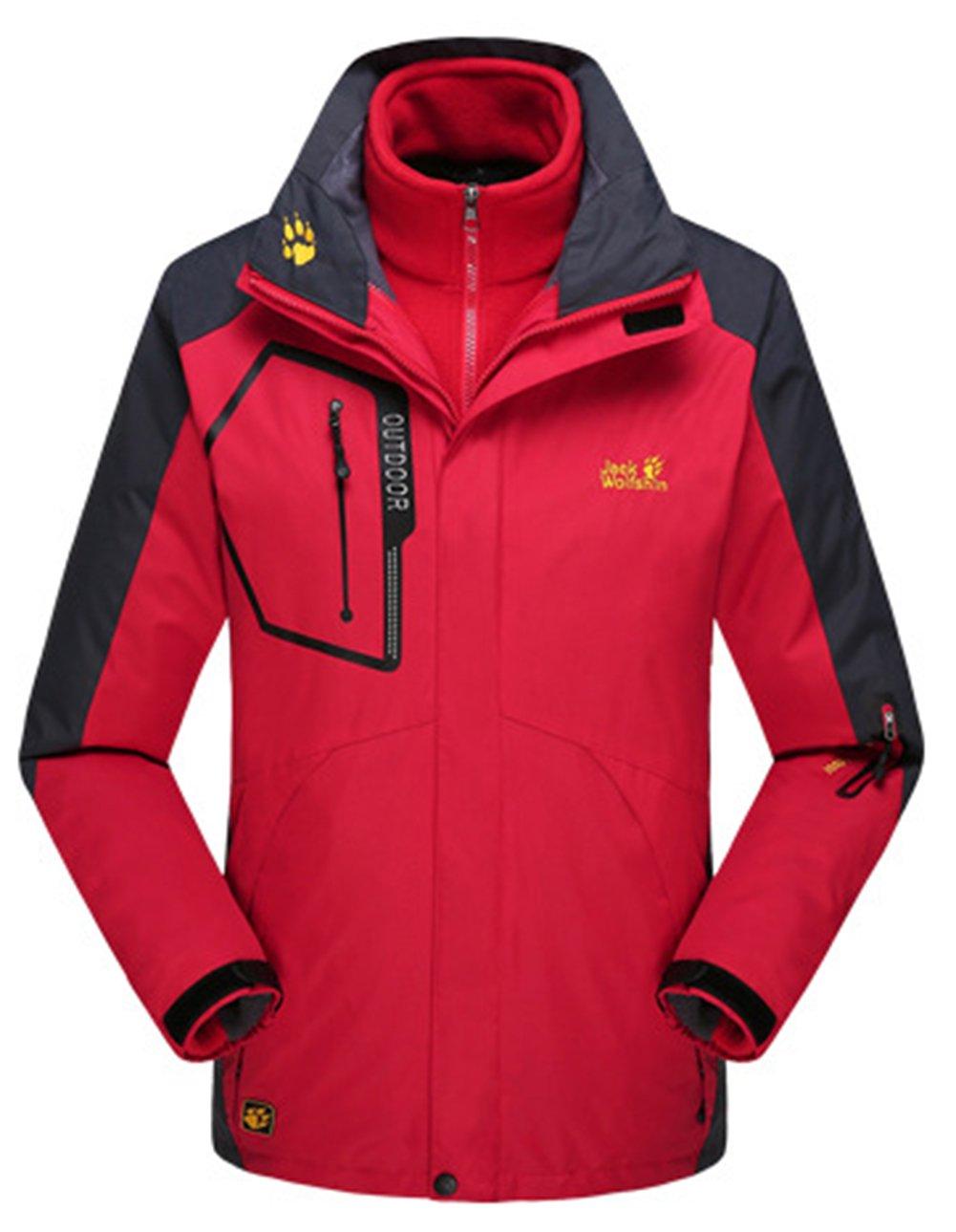 Lottaway Couple Detachable Fleece Waterproof Outdoor Snow Ski-wear Parka Coat Faddist Spark Malls-CA