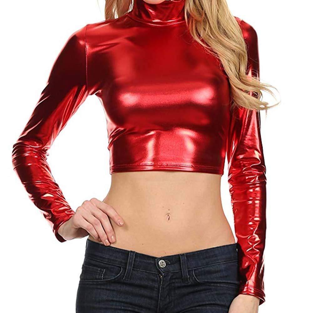 Fineser Women Metallic Liquid Party Mock Neck Turtleneck Long Sleeve Crop Short Top Tunic Blouse 3 Colors (Red, S)