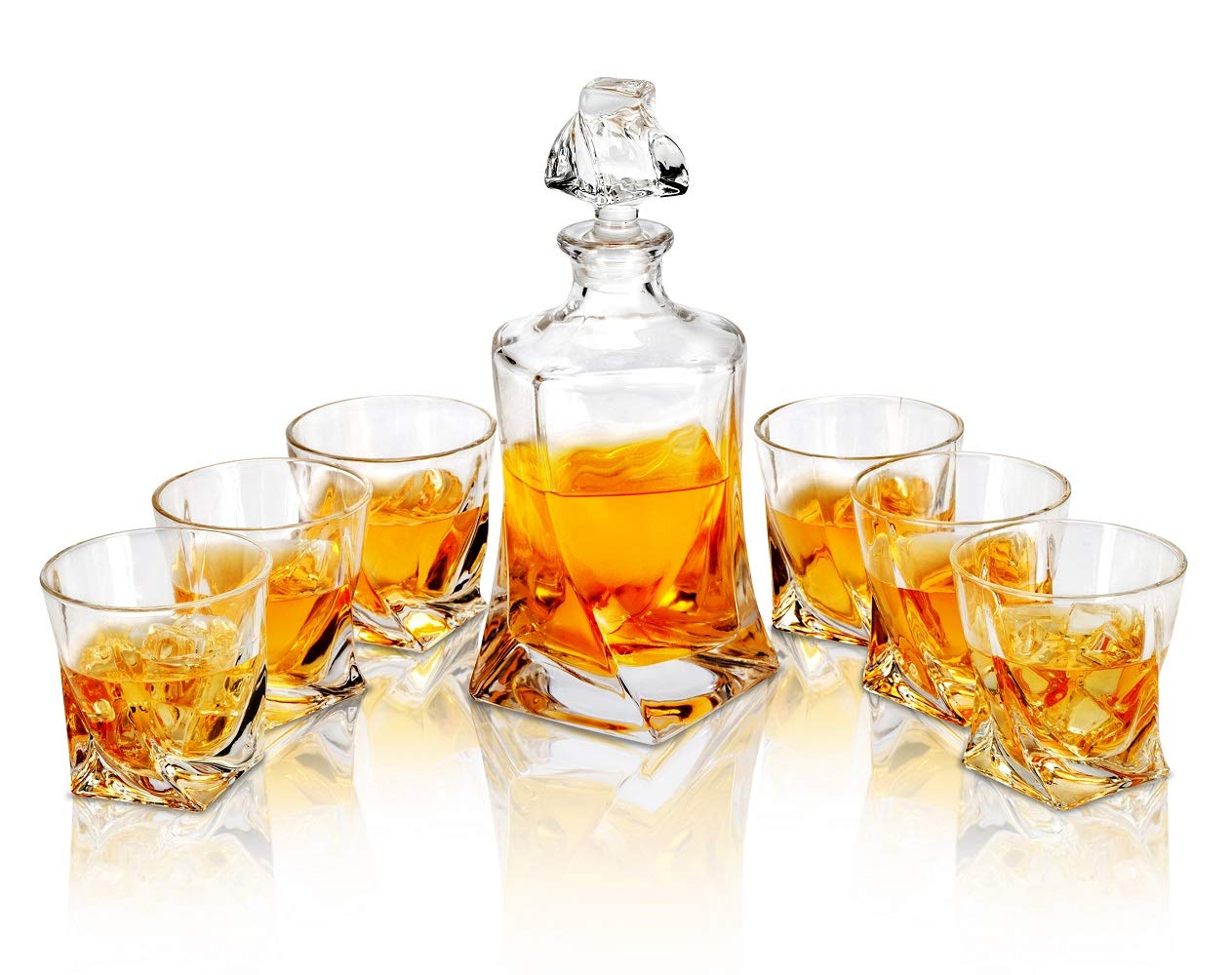 Whiskey Decanter And Glasses Set, Premium Liquor Decanter Comes with 6 Matching Scotch Glasses, Original European Style Crystal Decanter Set for Bourbon, Whisky and Alcohol, 7- Piece