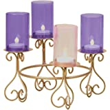"""8.25"""" Advent Votive Holder W/Glass Chimneys Without Batteries Candles by Roman"""