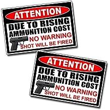 No Warning Shot Fired Pistol Warning Decal Sticker Gun