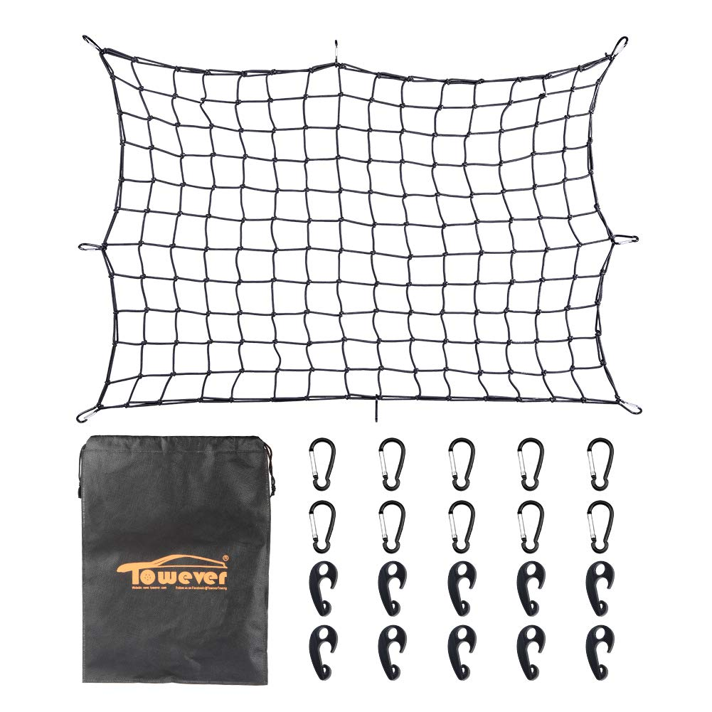 Towever 3'x4'Bungee Cargo net Pickup Truck Bed Long Stretches to 6'x8' 8cm x 8cm Mesh Net Small Large Cargo Loads Tighter for Rooftop Cargo Carrier