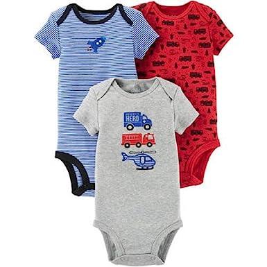 e5883b29a Carter's Child of Mine Baby Boys 3 Pack Bodysuit Set (Newborn, Grey Multi  Pack