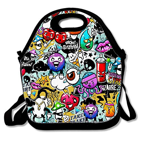 Halloween Cartoon Painting Watercolor Graffiti Bags For Men Women Adults Kids Toddler Nurses With Adjustable Shoulder Strap - Neoprene Lunch Tote