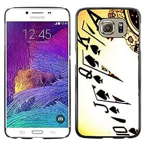 KOKO CASE / Samsung Galaxy S6 SM-G920 / tarjetas de Ace Poker juego reina rey juego de arte / Delgado Negro Plástico caso cubierta Shell Armor Funda Case Cover