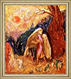 "Jacob Wrestling with the Angel by Odilon Redon - 15"" x 15"" Framed Premium Canvas Print"