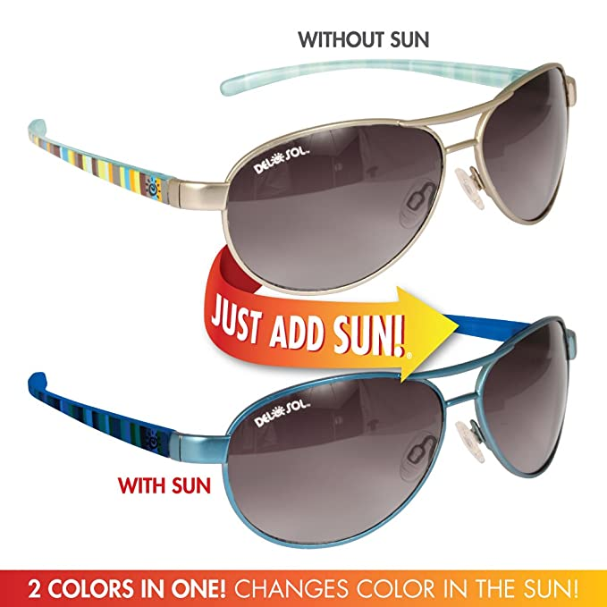 5ffeeaad22 Del Sol Color-Changing Women s Solize Sunglasses (Lonely Sea - Silver to  Blue)