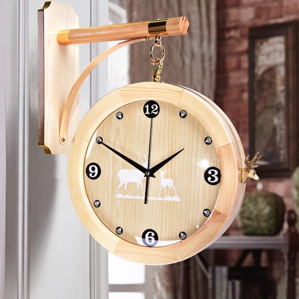 ETH 全二重銅アントラーズ時計/ミュート両面リビングウッド表飾りの飾り46 * 50 * 33センチメートルハンギング プライムデー (色 : Yellow)