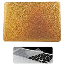 Rinbers 2 in 1 Bling Shiny Print Soft Touch Rubberized Hard Shell Clip Snap On Case Cover with KB Cover for New MacBook Pro 13 inch Retina 2016 w w/o Touch Bar&ID (Model:A1706 A1708) - Bling Gold