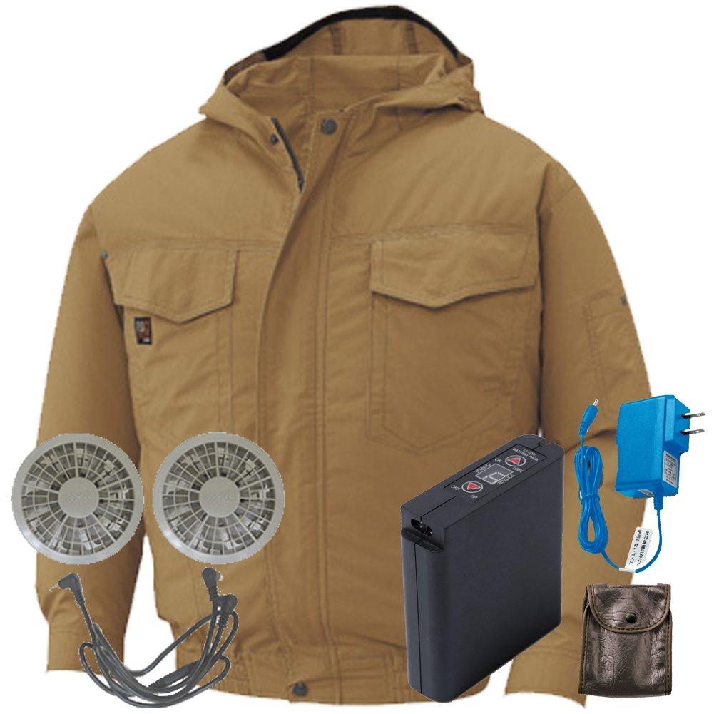 空調服 セット[KU91410ブルゾン+FAN2200グレーファン+LI-ULTRAIリチウムバッテリー] B0785JHFBV 5L|20 キャメル 20 キャメル 5L