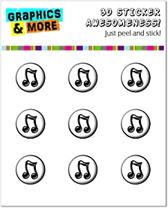 Graphics and More Music Musical Notes Home Button Stickers Fits Apple iPhone 4/4S/5/5C/5S, iPad, iPod Touch - Non-Retail Packaging - Clear