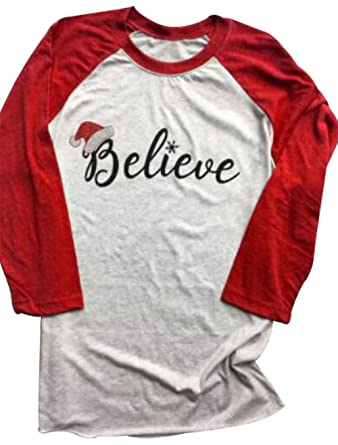 womens 34 sleeve christmas believe santa hat printed raglan baseball t shirt size