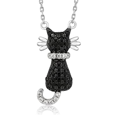 Amazon sterling silver round zirconia sitting black cat pendant sterling silver round zirconia sitting black cat pendant necklace on 18 inch 925 sterling silver chain aloadofball Choice Image