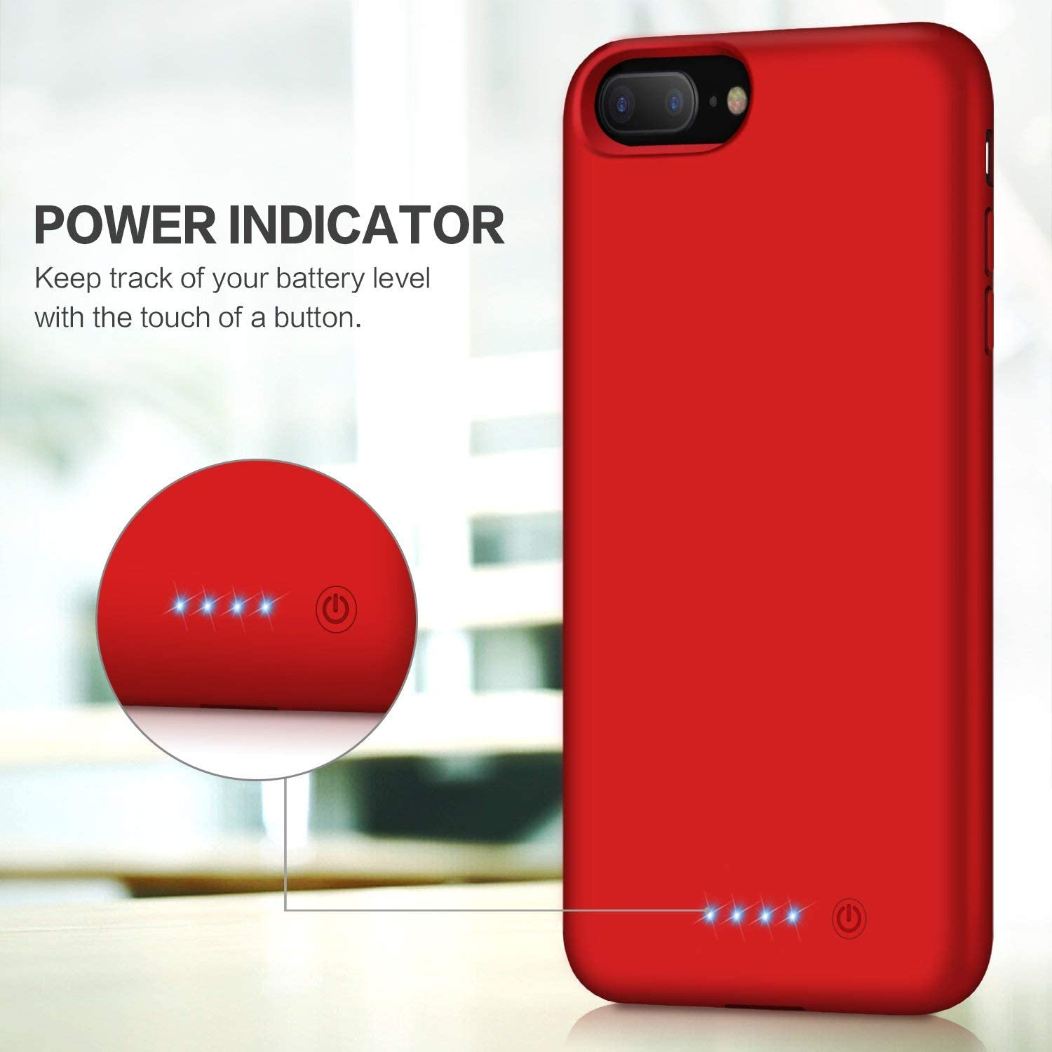 VOOE Battery Case for iPhone 7 Plus// 8 Plus 8500mAh Portable Battery Smart Pack Rechargeable Protective Battery Case for iPhone 7 Plus// 8 Plus External Charger Cover 5.5 inch Charging Case Red