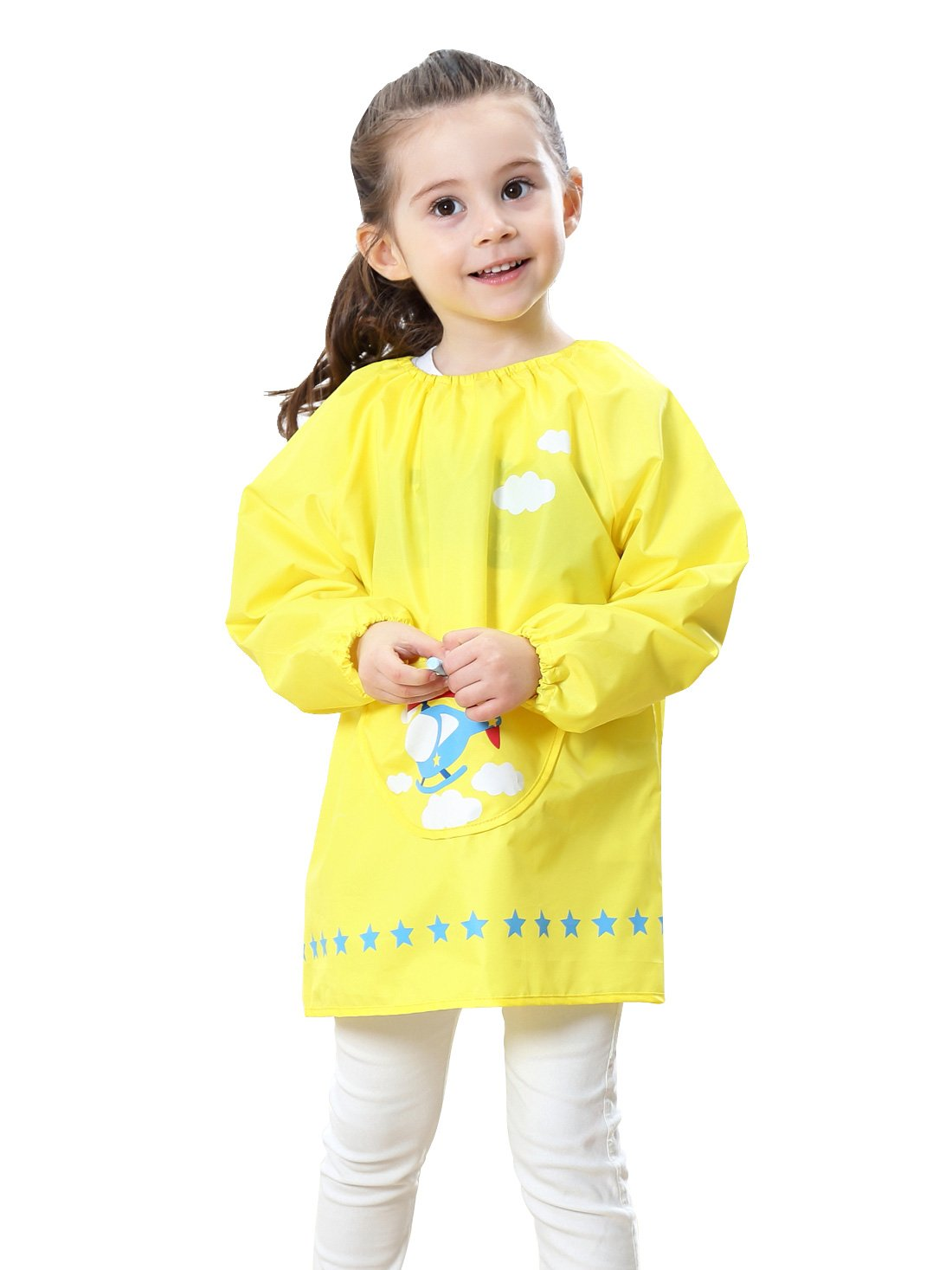 Kids Multifunctional Painting Smock Cute Plane Printing Children's Waterproof Pullover Long Sleeve Bib with Pocket Drawing Apron Yellow 4-6 T