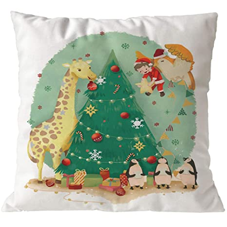 BHYDRY Fundas de almohada Merry Christmas Sofá de lino Funda ...