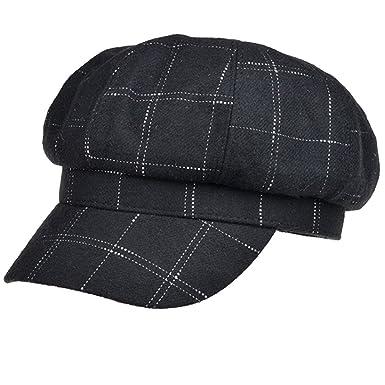 ac413f14082 Women Girls Fashion Vintage Stripe Warm Casual French Style Brim Beret Hat  Cap Black
