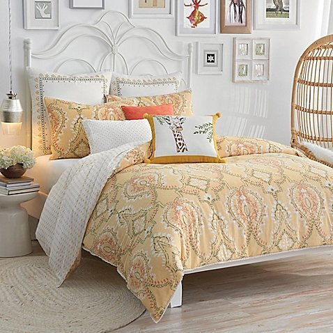 - Lemon Tree Pateel 2 Piece Duvet Cover Set Yellow TWIN