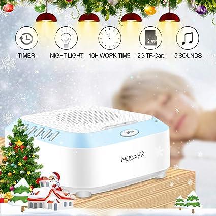 Máquina de Ruido Blanco para Dormir con 5 Sonidos Naturales, 2G Tarjeta de TF,