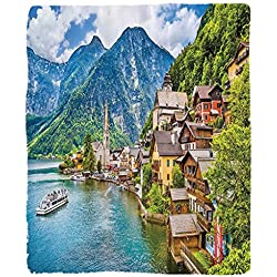 Chaoran 1 Fleece Blanket on Amazon Super Silky Soft All Season Super Plush Werlust Decor Collection Famous Hallstatt Mountain Village with Lake in the Austrian Alps Countryside Tour Picture Fabric Ext