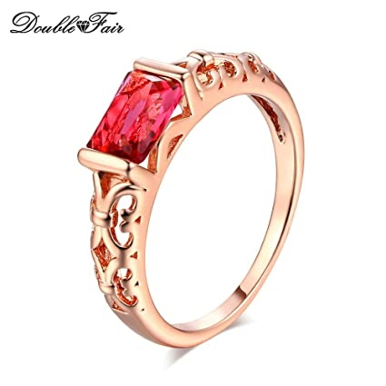 JEWH Crystal Wedding Rings for Women - Rose Gold Color/Silver Tone Fashion Retro Engagement