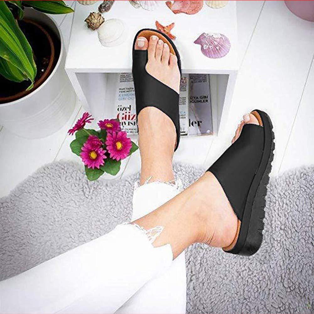 Comfortable Schlappen Alltag Damen Sandalen Wedges Peeptoe Designer Nue Schwarz