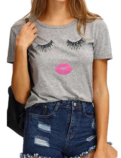 cb2c27077cc2 Haola Summer Fashion Women Cute Short Sleeve Printed Tops Casual T Shirt S  Grey