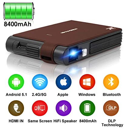 Smart Pocket Mini Projector, 1080P WIFI Home Theater Pico Rechargeable  Video DLP Projector Support Bluetooth HDMI USB Keystone Correction  Bluetooth