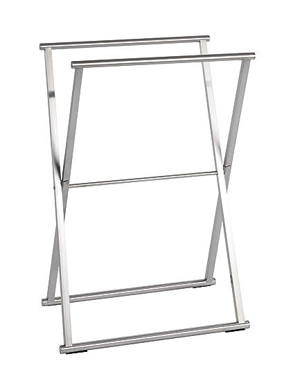Wenko Toallero de Pie, Acero Inoxidable, Plata Brillante, 35x53.5x80.5 cm