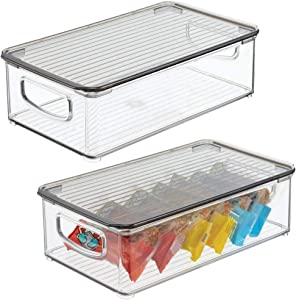 """mDesign Plastic Stackable Kitchen & Pantry Storage Box for Cabinet, Refrigerator, Freezer Food Storage with Handles, Lid - Organization for Fruit, Snacks, Pasta - 3"""" High, 2 Pack - Clear/Smoke Gray"""