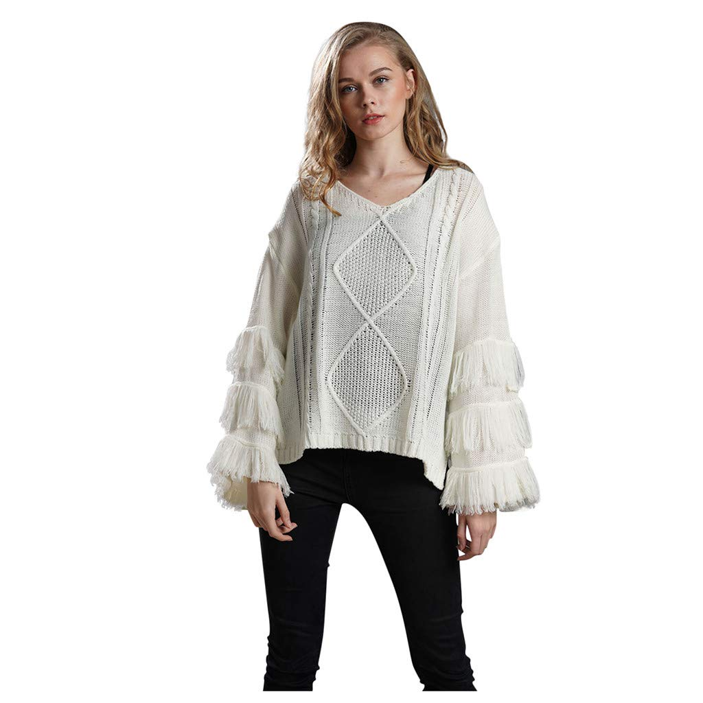 Shusuen Women's Knitwear Pullover V Neck Flared Tassel Sleeve Side Slit Knit Cable Sweater Beige by Shusuen_Clothes
