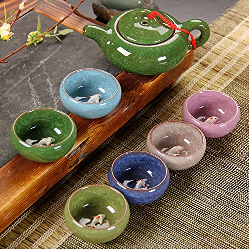 Longpro Rainbow Colors Ice Cracked Glaze Kung Fu Tea Sets (Cups with fish)