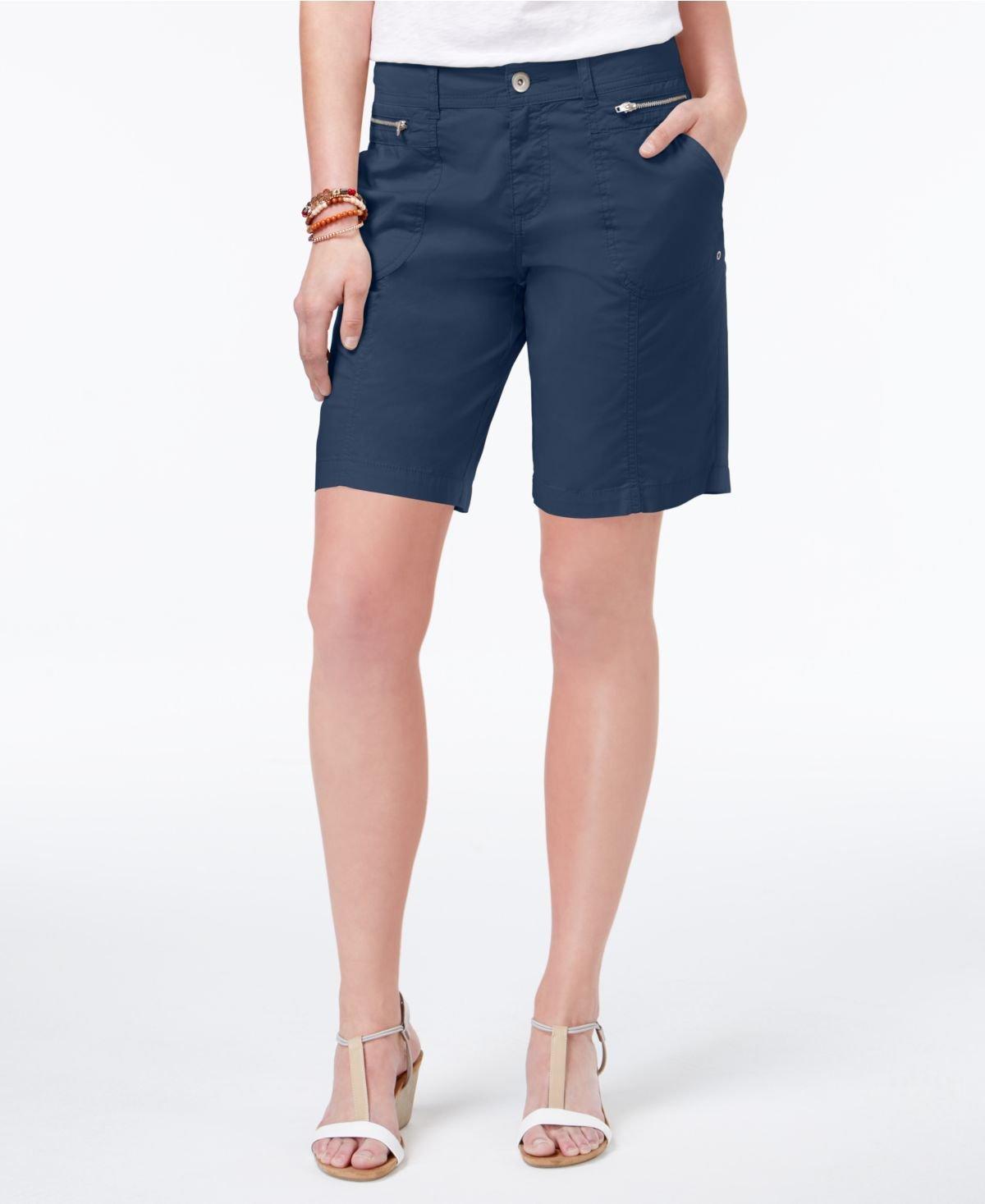 Style & Co. Zippered-Pocket Shorts (Deep Black, 16)