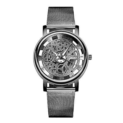 XBKPLO 2019 New Quartz Watches for Womens Mens Luxury Silver Golden Hollow Steel Unisex Retro Fashion