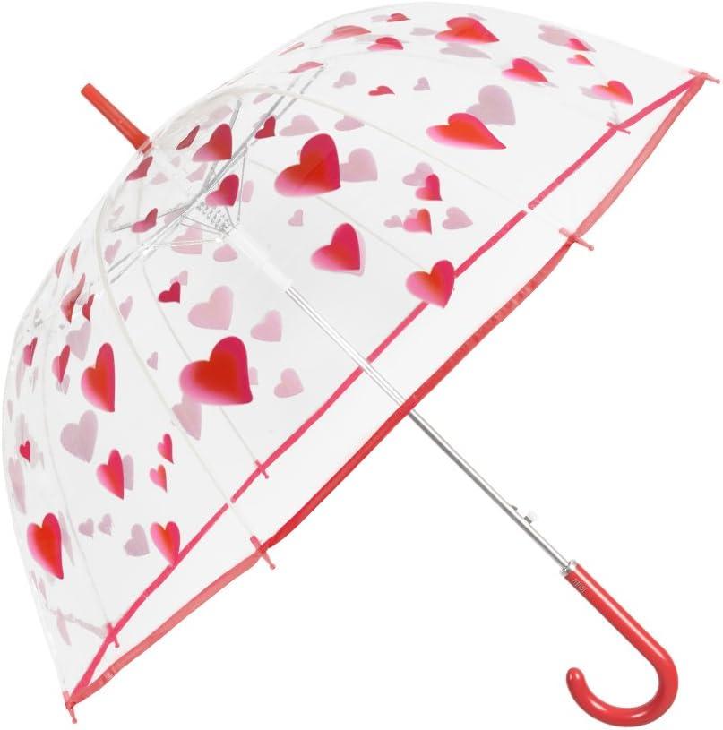 Paraguas Transparente Mujer Estampado Corazones Rojos - Paraguas ...