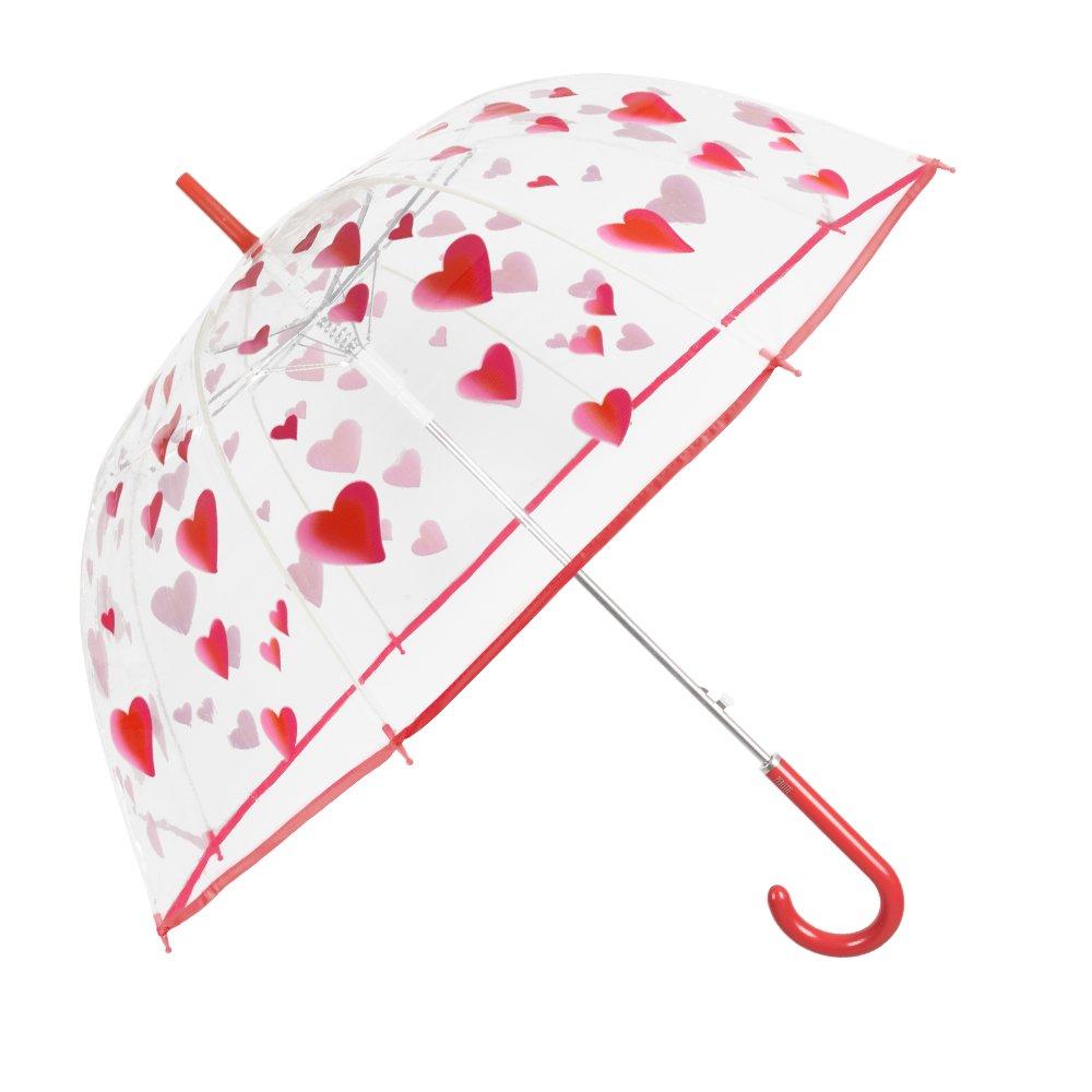 Romántico paraguas antiviento con estampado de corazones y apertura automática.