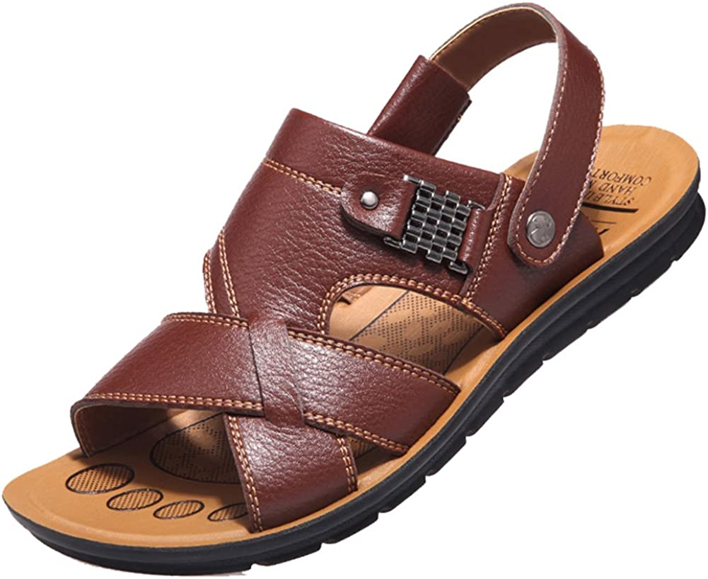 Respeedime Mens Non-Slip Leather Slippers Sandals Summer Casual Beach Shoes