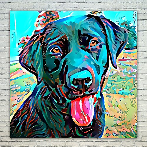 (Westlake Art Black Lab Labrador Lover 16x16 inch Modern Poster Prints Artwork Abstract Paintings Pictures Printed Wall Art for Home Office Decorations)
